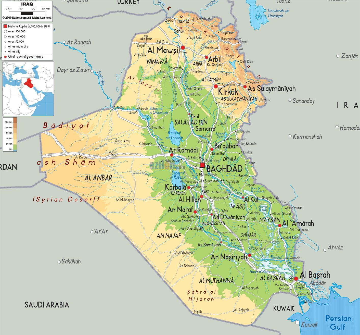Cartina Iraq.Iraq Geografia Mappa Mappa Dell Iraq Geografia Asia